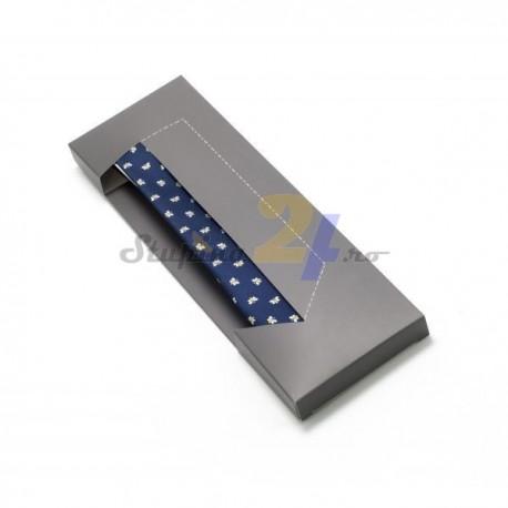 Cravata bleumarin, cu motive apicole