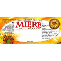 """Eticheta miere """"Poliflora"""" din stupina proprie"""