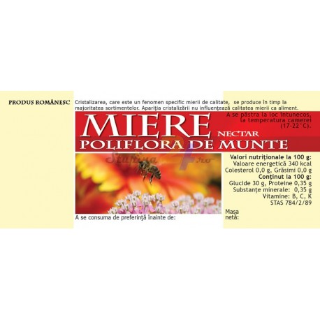 """Eticheta miere RETRO """"Poliflora de munte-nectar"""""""